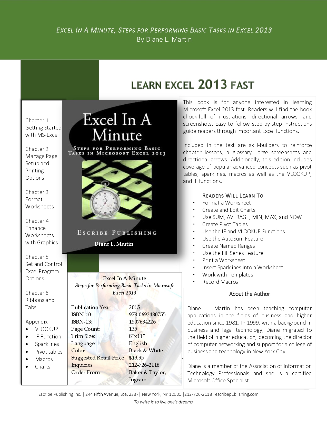 Excel 2013 Sell Sheet